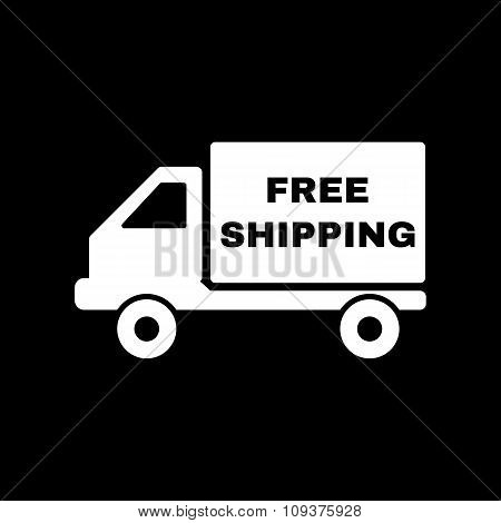 The free shipping icon. Delivery and transportation, transit symbol. Flat