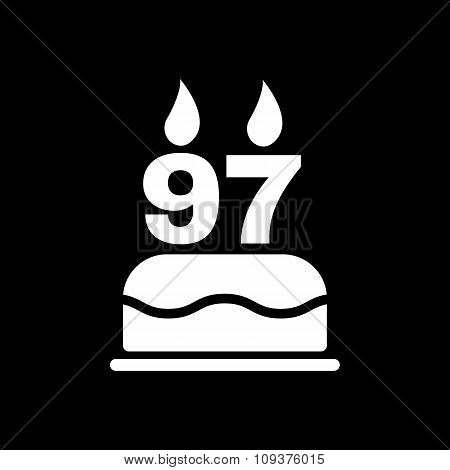 The birthday cake with candles in the form of number 97 icon. Birthday symbol. Flat