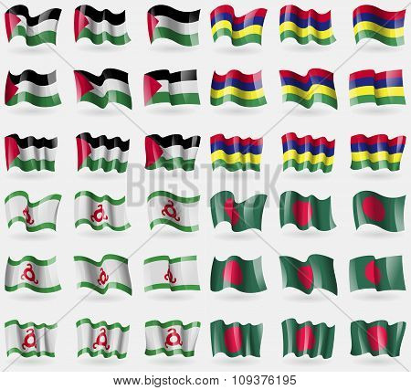 Palestine, Mauritius, Ingushetia, Bangladesh. Set Of 36 Flags Of The Countries Of The World. Vector