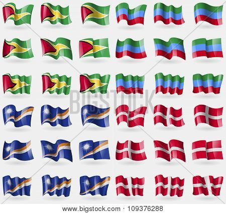 Guyana, Dagestan, Marshall Islands, Military Order Malta. Set Of 36 Flags Of The Countries Of The Wo