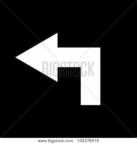 The left icon. Direction and arrow, navigation symbol. Flat