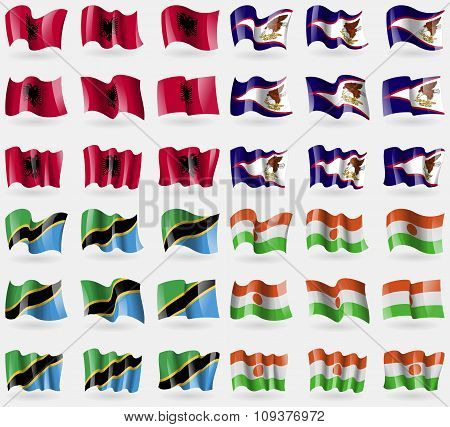 Albania, American Samoa, Tanzania, Niger. Set Of 36 Flags Of The Countries Of The World. Vector