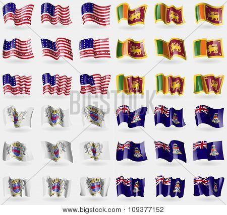Bikini Atoll, Sri Lanka, Saint Barthelemy, Cayman Islands. Set Of 36 Flags Of The Countries Of The