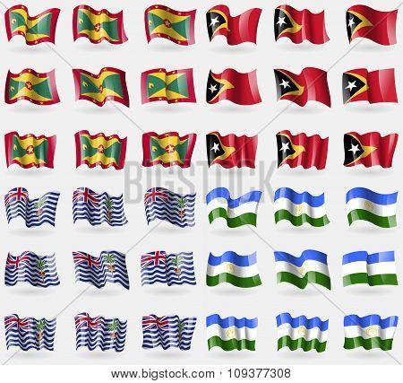 Grenada, East Timor, British Indian Ocean Territory, Bashkortostan. Set Of 36 Flags Of The