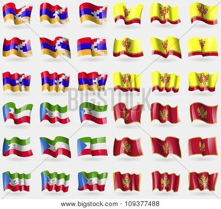 Karabakh Republic, Chuvashia, Equatorial Guinea, Montenegro. Set Of 36 Flags Of The Countries Of