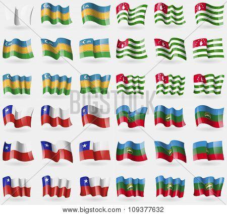 Karakalkastan, Abkhazia, Chile, Karachaycherkessia. Set Of 36 Flags Of The Countries Of The World.