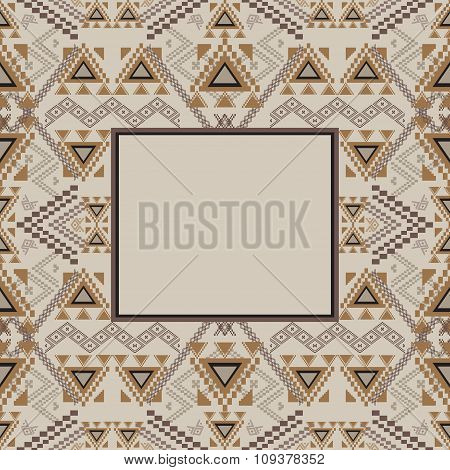 Vector Decorative Frame. Ethnic Tribal Geometric Pattern