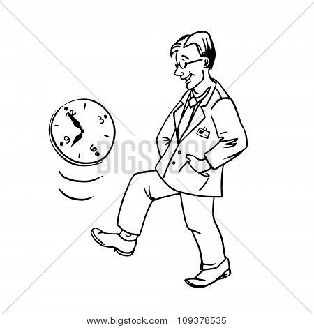 Vector Linear Illustration Procrastination Businessman Which Delay His Work For Later. Outline Carto
