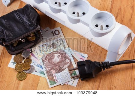 Electrical Power Strip With Disconnected Plug And Polish Currency Money, Energy Costs