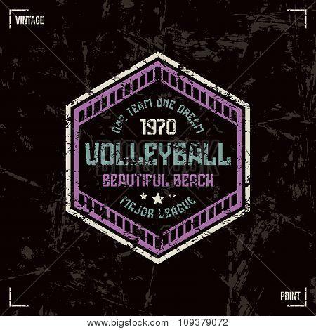Volleyball Team Hexagonal Badge