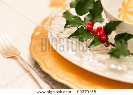 Traditional Christmas Table Setting