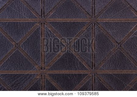 Closeup Of Black Leather As Background Texture