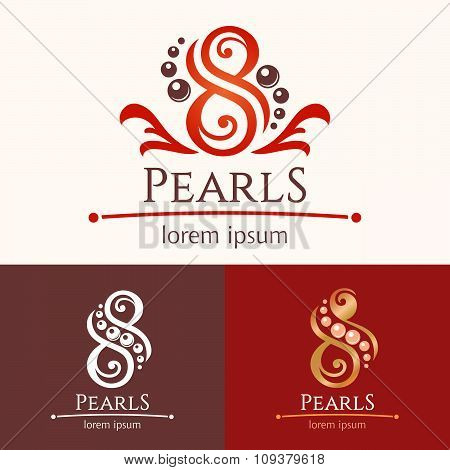 Eight Pearls Emblem Template Design Set