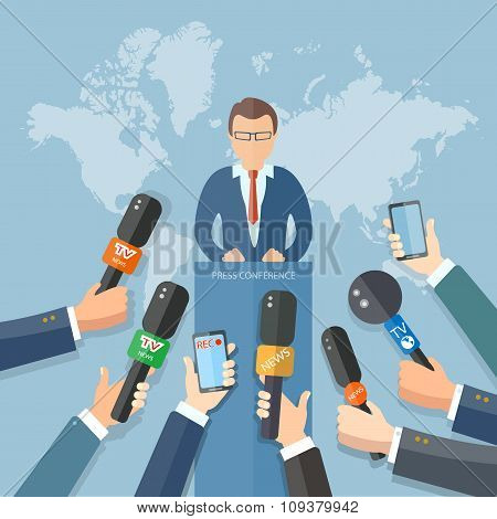 News Conference World Live Tv Hands Of Journalists Microphones Interview Concept