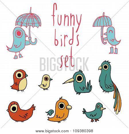 Vector cartoon flat birds set icon stickers.