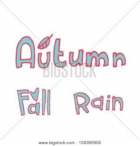 Vector cartoon flat autumn set icon stickers.