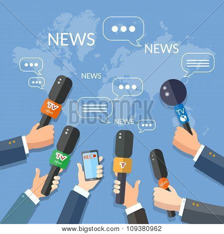 World Live News Report Press Concept Hands Of Journalists With Microphones And Smartphone Recording