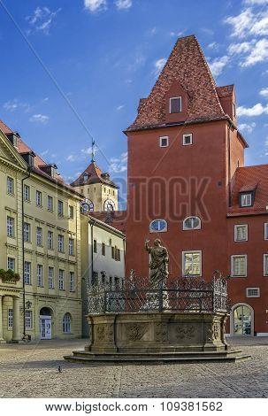 Haidplatz Square In Regensburg, Germany
