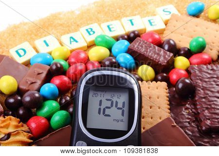 Glucometer, Sweets And Cane Brown Sugar With Word Diabetes, Unhealthy Food