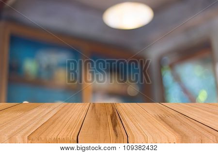 Selected Focus Empty Brown Wooden Table And Coffee Shop Blur Background With Bokeh Image, For Produc