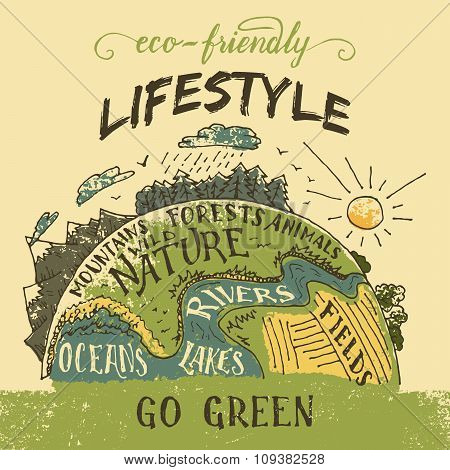 Eco Friendly Lifestyle Concept Illustration