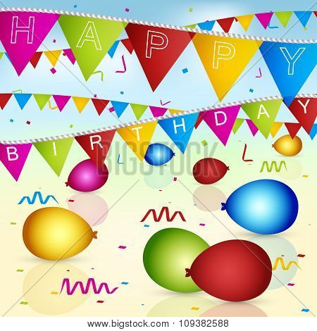 Happy Birthday vector greeting card with colorful flags, ribbons and balloons.