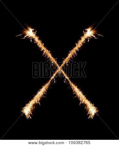 Sparkler Firework Light Alphabet X At Night