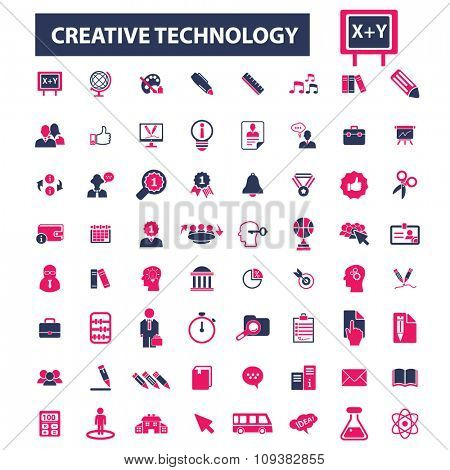 creative technology, learning, study, science, research  icons, signs vector concept set for infographics, mobile, website, application