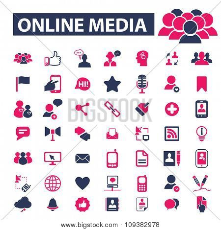 online media, social media, blog, community, user, avatar  icons, signs vector concept set for infographics, mobile, website, application
