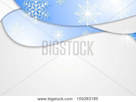 Blue wavy Christmas background. Vector design