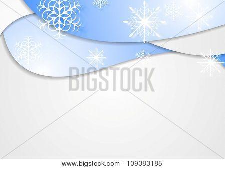 Blue wavy Christmas background. Vector design