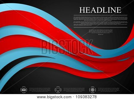 Abstract blue red corporate wavy background. Vector design
