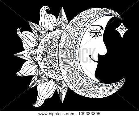 Cartoon Illustration Of A Sun, Moon With Human Face