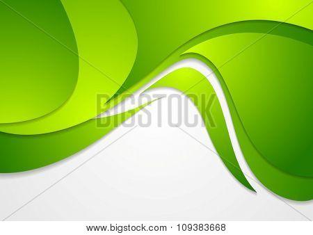 Bright green corporate wavy background. Vector design