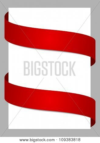 Abstract background with red ribbons. Vector illustration