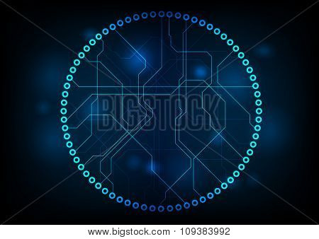 Dark technology circuit board abstract design. Vector background