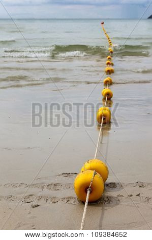 Line Of Anchor Buoys In Patong Beach, Phuket,thailand