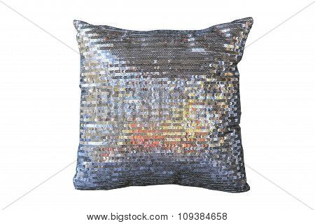 Decorative Silver Pillow Isolated