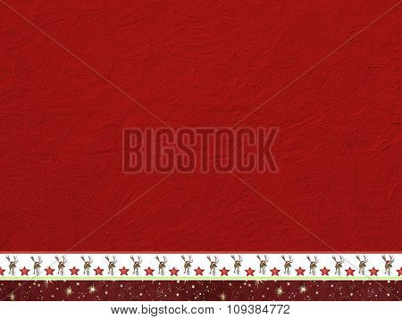 Rough Red Painted Wall And Decorative Christmassy Border