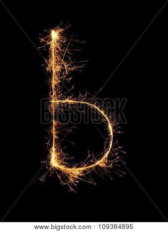 Sparkler Firework Light Alphabet B (small Letters) At Night