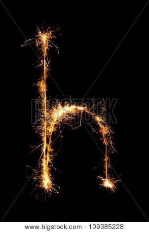 Sparkler Firework Light Alphabet H (small Letters) At Night