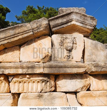Ruins Stone And Theatre In  Antalya  Arykanda Turkey Asia Sky And  Old  Temple