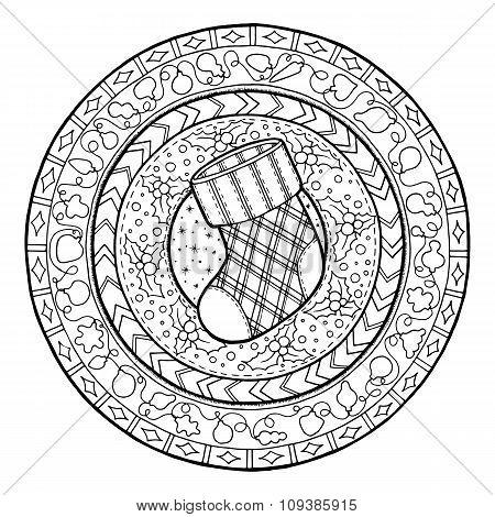 Doodle Christmas sock on ethnic mandala.