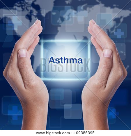 asthma word button on screen. medical concept