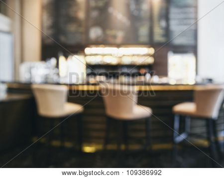 Blurred Bar Counter With Stool Seats Restaurant Cafe Background