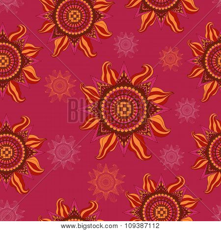Colorful Summer Sun Seamless Pattern On Purple Background