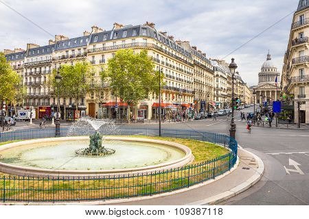 View of the streets and the Pantheon in the Latin Quarter in Paris