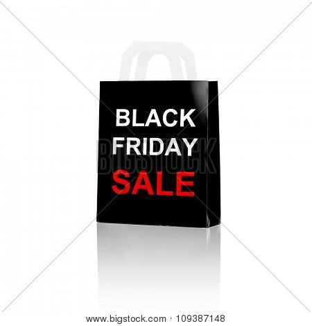 consumerism, discount, retail, advertisement and retail concept - shopping bag with sale and black friday word