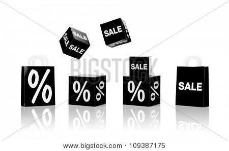 shopping, retail and black friday concept - set of boxes and shopping bags with sale and percent sign