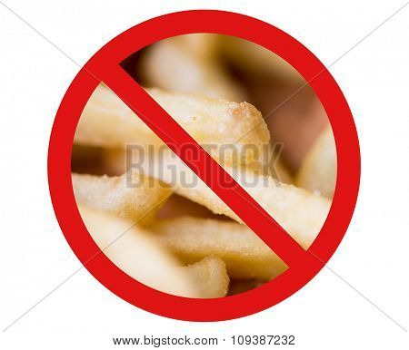 fast food, low carb diet, fattening and unhealthy eating concept - close up of french fries behind no symbol or circle-backslash prohibition sign
